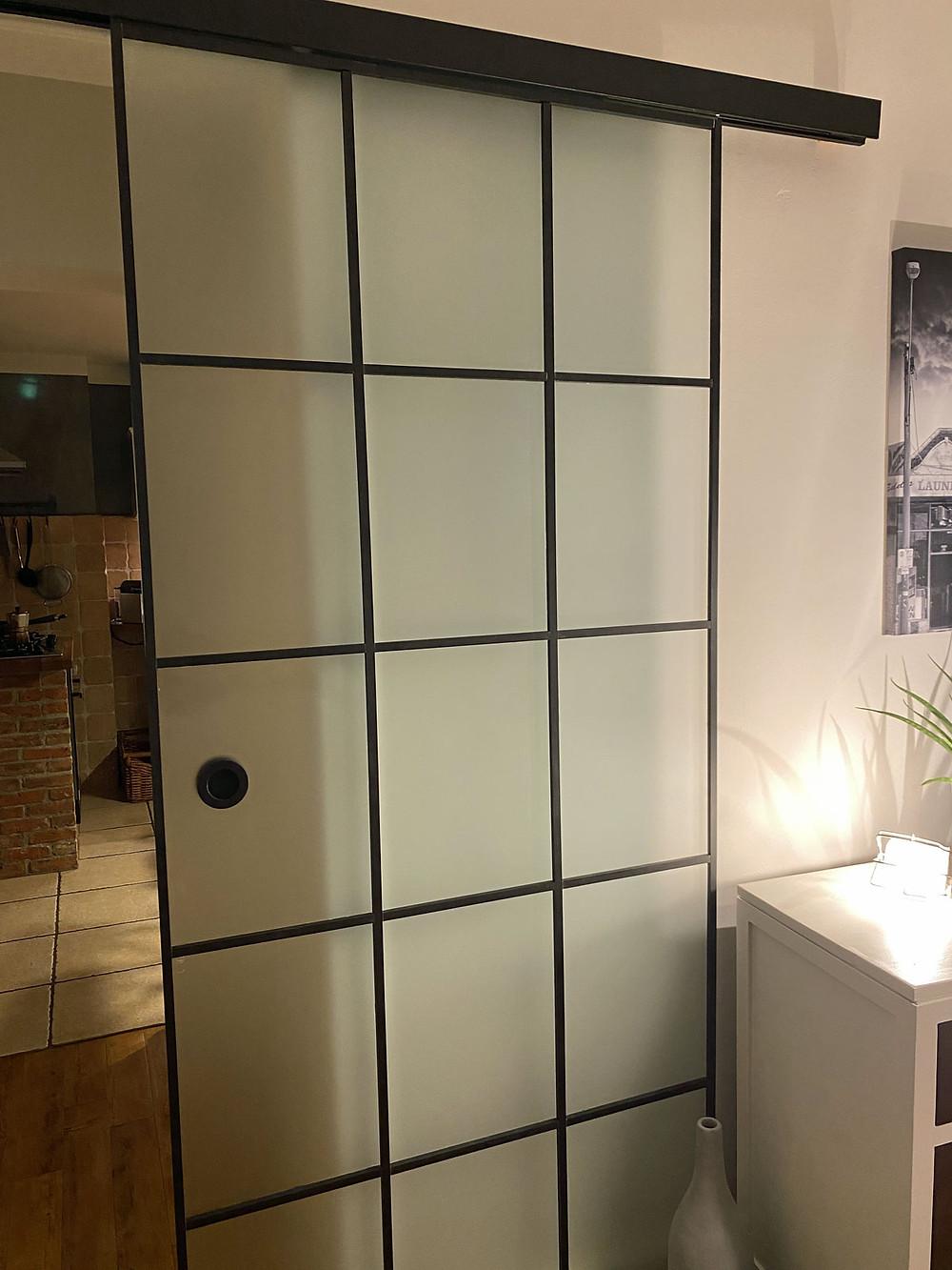 Glastür Upcycling mit Holz DIY Crittall Tür Sprossentür