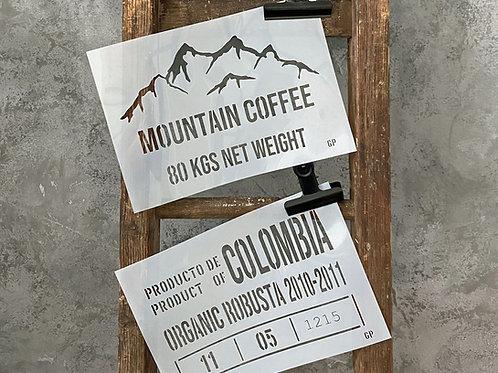 Schablone Mountain Coffee zweiteilig