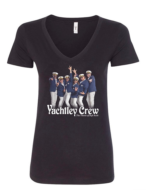 Womens Yächtley Crëw Band Black V-Neck T-Shirt