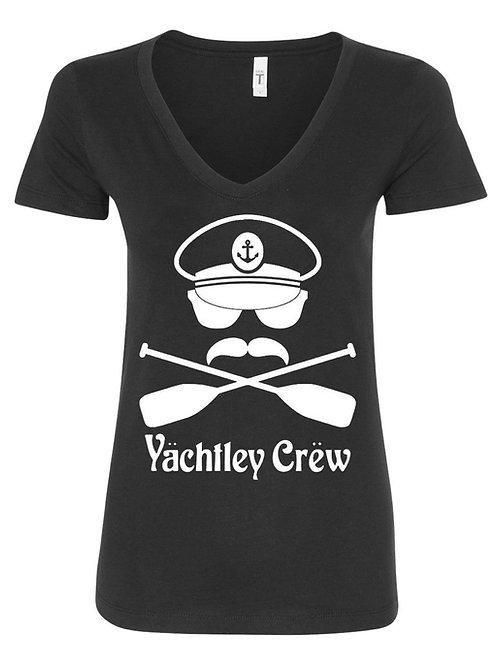 Womens Yächtley Crëw Cross Oars Black V-Neck T-Shirt