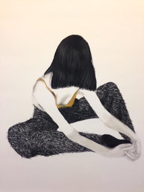 into black 100x140 cm houtskool op papier