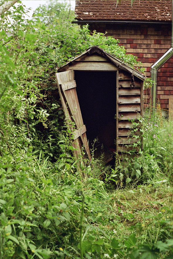 -a dilapidated shed-