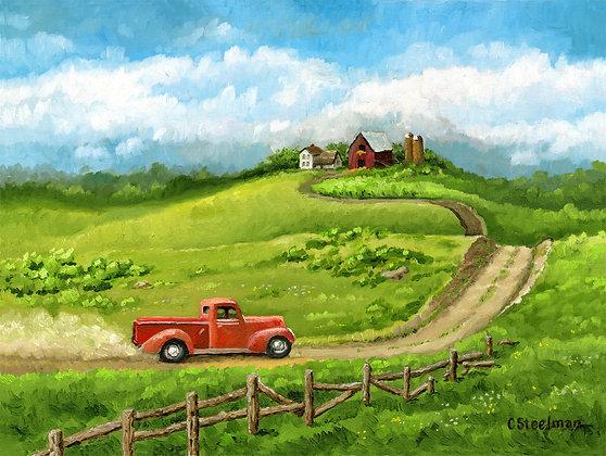 SP/ Hill Top Farm, Red Pickup • 8 x 10