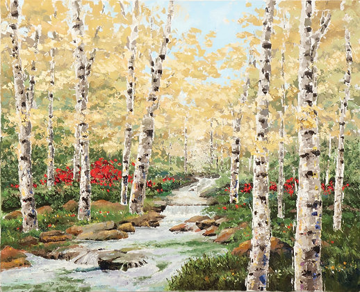 SP/ Stream thru the Birches • 10 by 8 inches