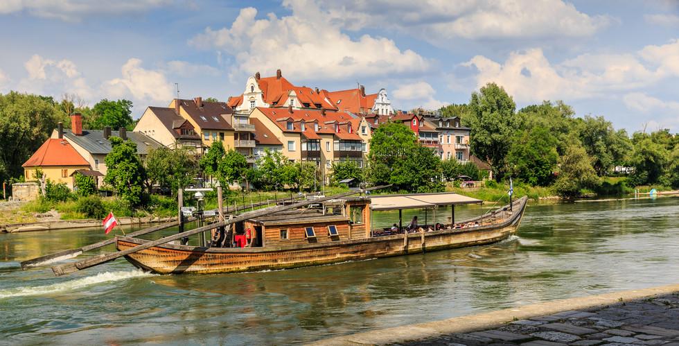Wooden boat in Regensburg