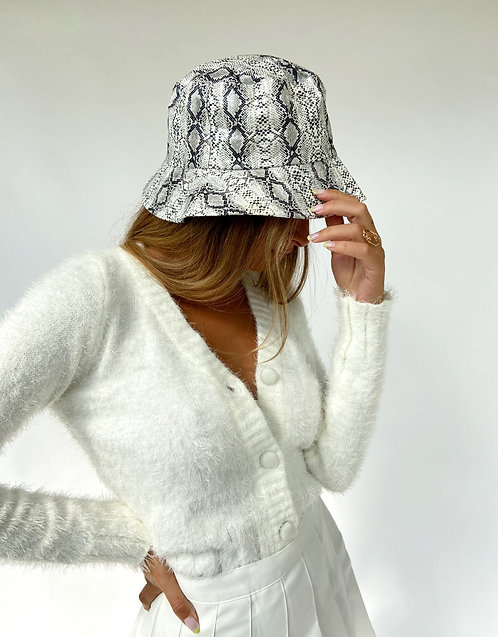 Snake Bucket Hat // White