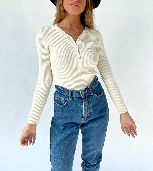 Beige Sweater VNeck Buttons