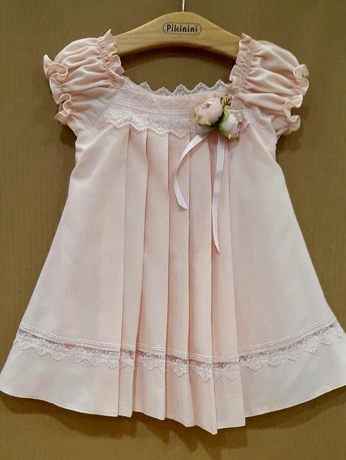 Önü Pileli Dantel Detaylı Pudra Pembe Kız Çocuk Abiye Elbise