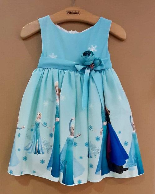 Elsa Anna Desenli Mavi Renkli Kurdelalı Kız Çocuk Abiye Elbise