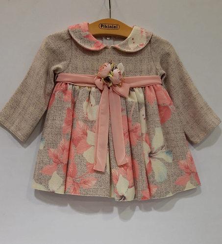 Renkli Çiçek Desenli Uzun Kollu Bej Kız Bebek Abiye Elbise