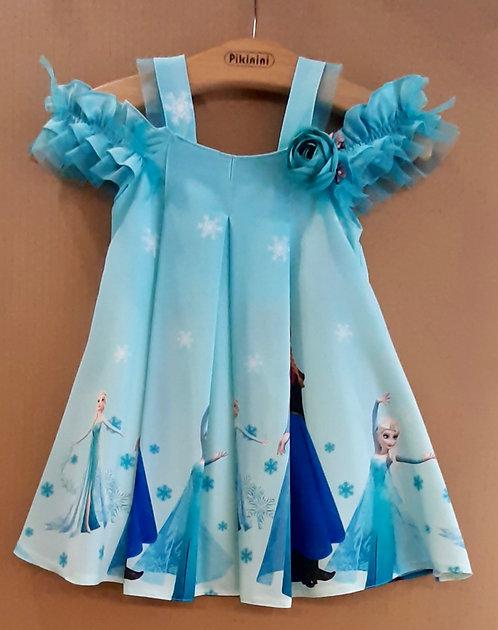 Elsa Anna Desenli Mavi Renkli Açık Omuzlu Kız Çocuk Abiye Elbise