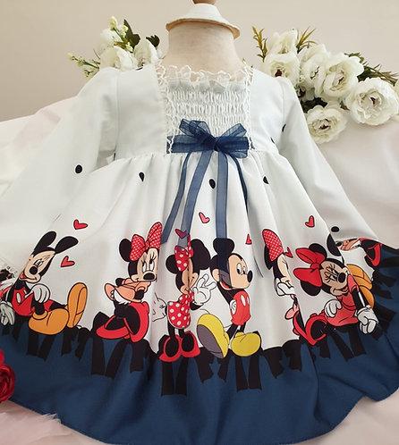 Minnie Mouse Baskılı Uzun Kollu Beyaz Kız Bebek Abiye Elbise