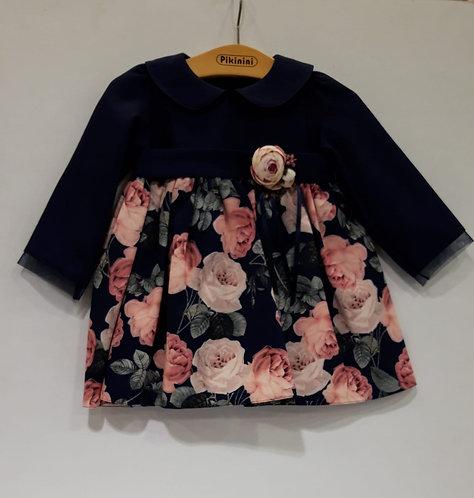 Çiçek Desenli Uzun Kollu Lacivert Kız Bebek Abiye Elbise