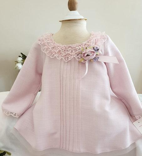 Dantel Yakalı Uzun Kollu Pembe Kız Bebek Abiye Elbise