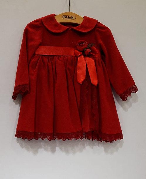 Uzun Kol Yırtmaçlı Tül Detaylı Kırmızı Kız Bebek Abiye Elbise