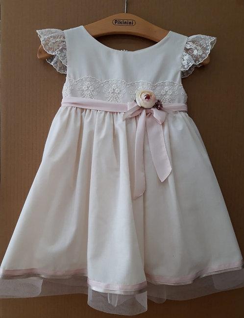 Dantelli Yarım Kollu Pembe Çiçek-Kurdelalı Bej Rengi Çocuk Abiye Elbise