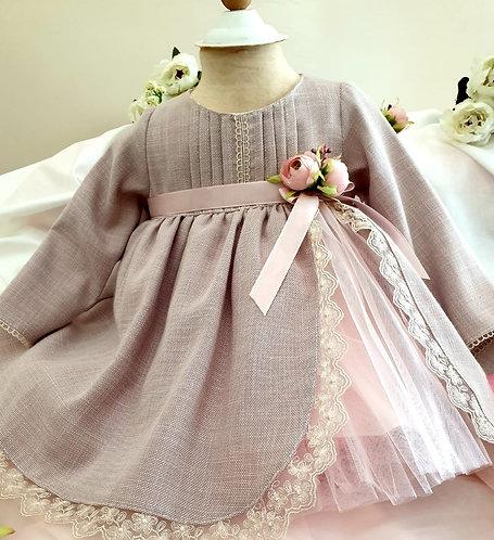 Yırtmaçlı Dantelli Uzun Kollu Vizon Kız Bebek Abiye Elbise