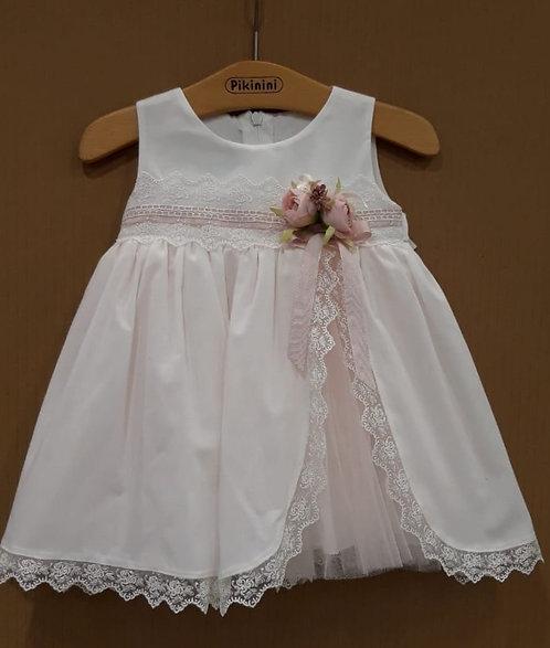 Dantel Detaylı Tüllü Kurdelalı Beyaz-Pembe Kız Bebek Abiye Elbise