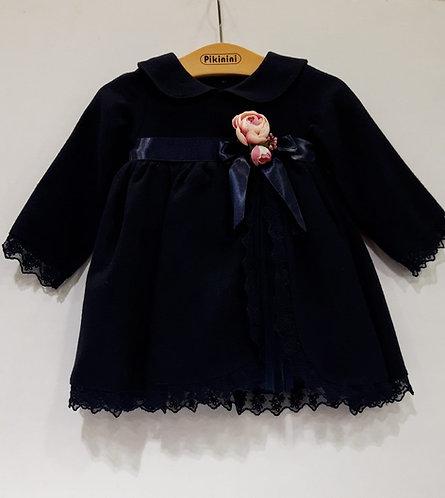 Uzun Kol Yırtmaçlı Tüllü Lacivert Kız Bebek Abiye Elbise