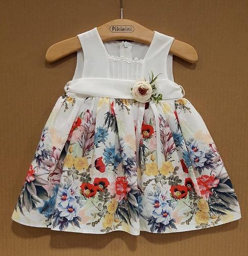 Çiçek Desenli Kurdelalı Krem-Karışık Renkli Bebek Abiye Elbise