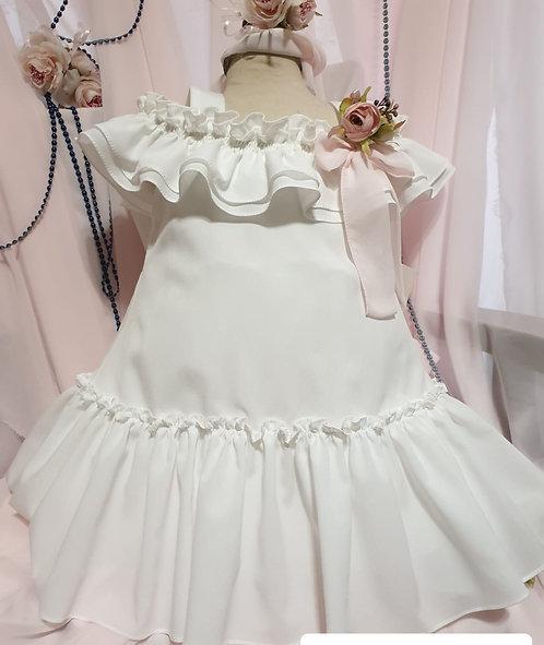 Fırfır Detaylı Açık Omuzlu Beyaz Kız Çocuk Abiye Elbise