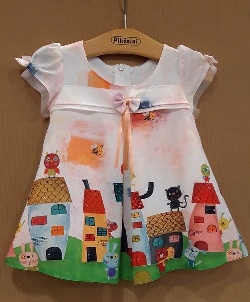 Kedi Desenli Yarım Kollu Renkli Kız Bebek Abiye Elbise