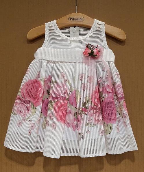 Çiçek Desenli Helezon Kumaş Pembe-Beyaz Bebek Abiye Elbise