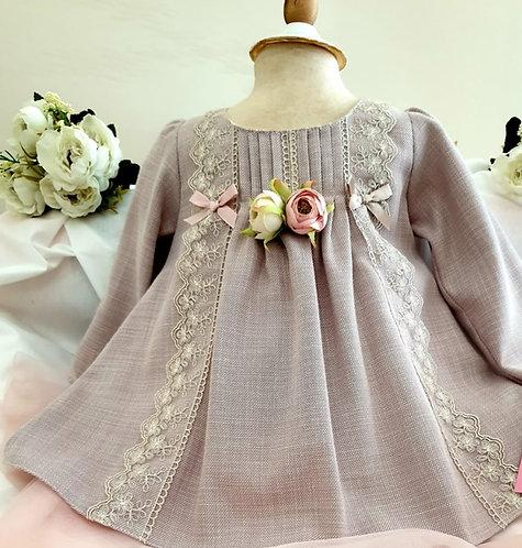Dantelli Uzun Kollu Vizon Rengi Kız Bebek Abiye Elbise