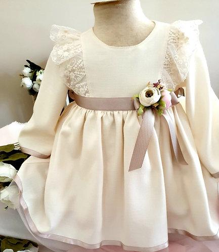 Omuzları Dantelli Uzun Kollu Krem Kız Bebek Abiye Elbise
