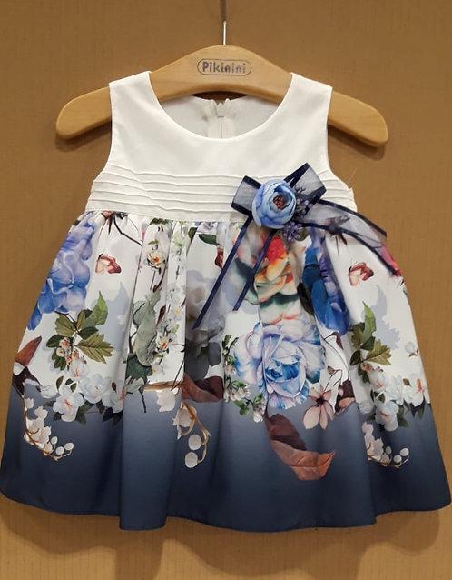 Çiçek Desenli Kurdelalı Krem-Lacivert-Karışık Renkli Bebek Abiye Elbise