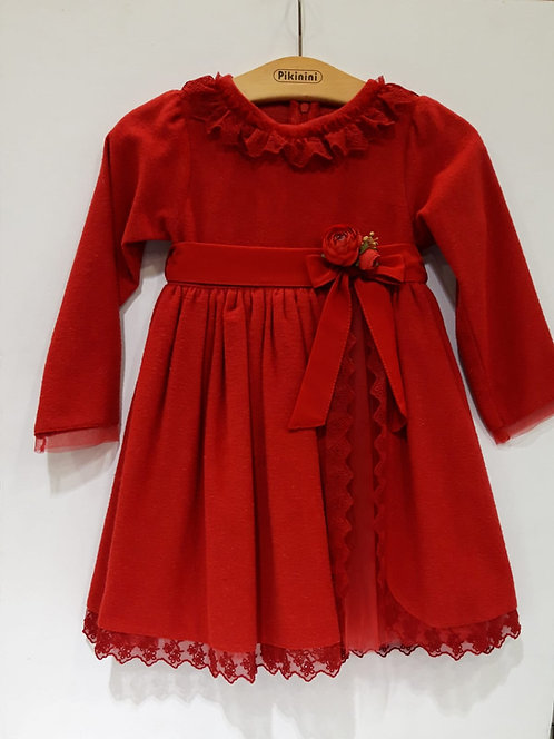 Dantel Yakalı Uzun Kollu Tüllü Kırmızı Kız Çocuk Abiye Elbise