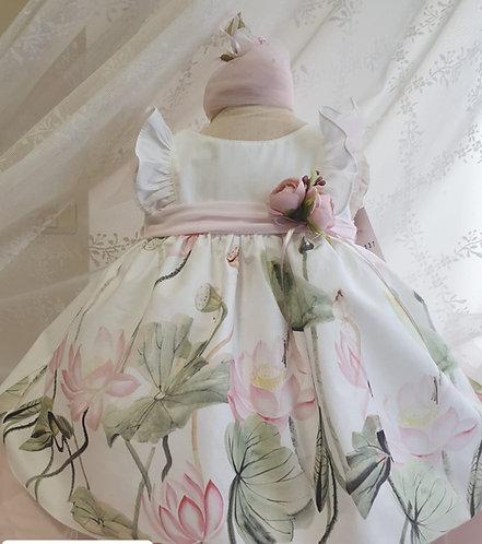 Fırfırlı Çiçek Desenli Beyaz-Karışık Renkli Kız Bebek Abiye Elbise
