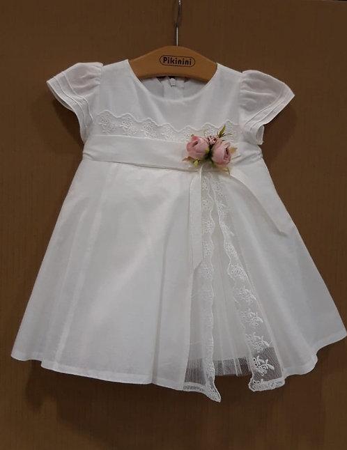Dantel Detaylı Yarım Kollu Beyaz Kız Bebek Abiye Elbise