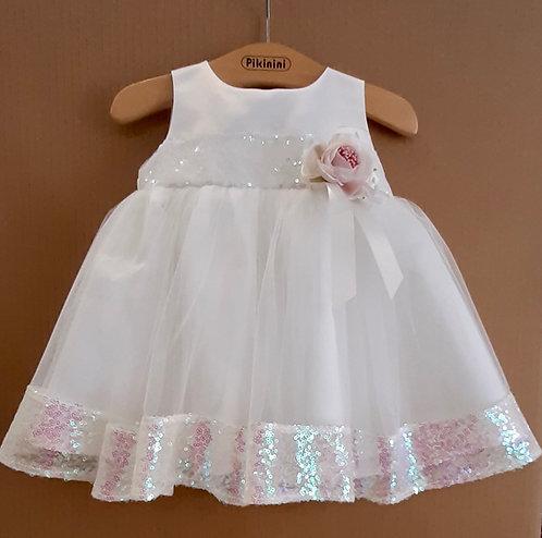Pul Detaylı Tüllü Kabarık Beyaz Kız Bebek Abiye Elbise