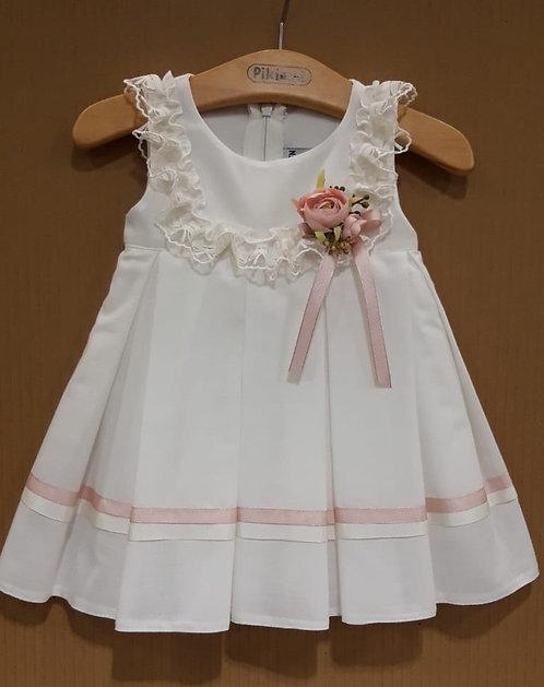 Fırfır Detaylı Pileli Pembe Şeritli Beyaz Bebek Abiye Elbise