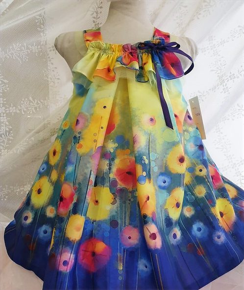 Fırfır Detaylı Açık Omuzlu Çiçek Desenli Karışık Renkli Kız Çocuk Abiye Elbise