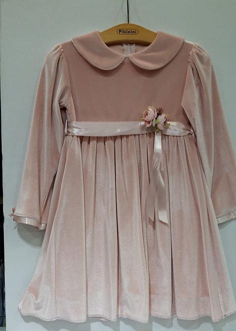 Dökümlü Kadife Uzun Kollu Pudra Pembe Kız Çocuk Abiye Elbise