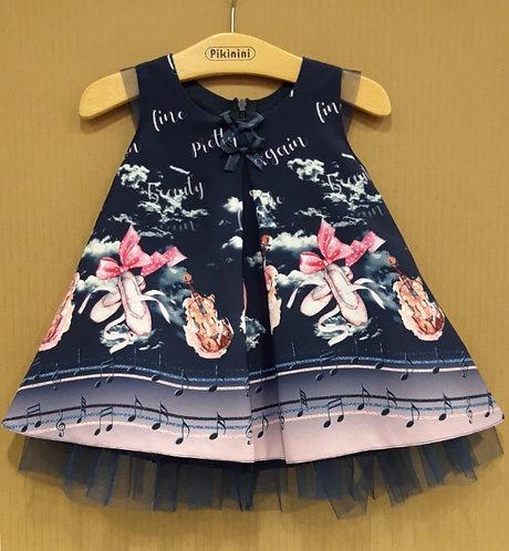 Balerin-Keman Desenli Lacivert-Pembe Kız Bebek Abiye Elbise