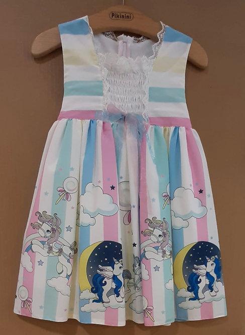 Pony Unicorn Desenli Pastel Renkli Kurdelalı Kız Çocuk Abiye Elbise