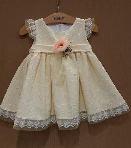 Dantel Detaylı Kurdelalı Açık Sarı Kız Bebek Elbise