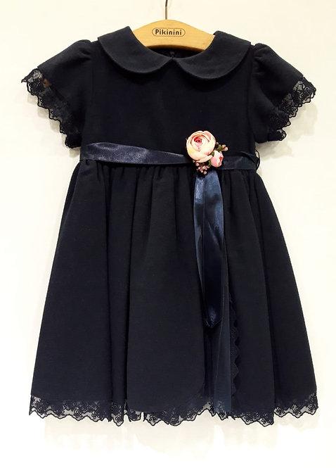 Kısa Kollu Yırtmaçlı Tüllü Lacivert Kız Çocuk Abiye Elbise