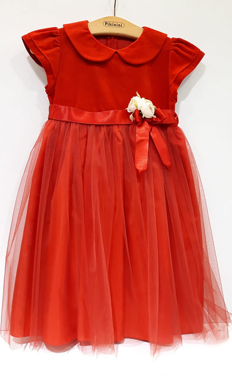 Kısa Kol Üstü Kadife Altı Tül Kırmızı Kız Çocuk Abiye Elbise