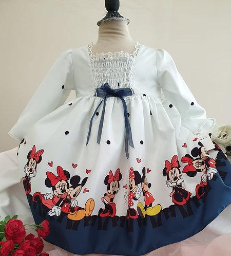 Minnie Mouse Baskılı Uzun Kollu Beyaz Kız Çocuk Abiye Elbise