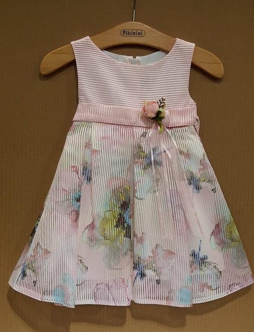 Çiçek Desenli Helezon Kumaş Açık Pembe-Pastel Renkli Çocuk Abiye Elbise