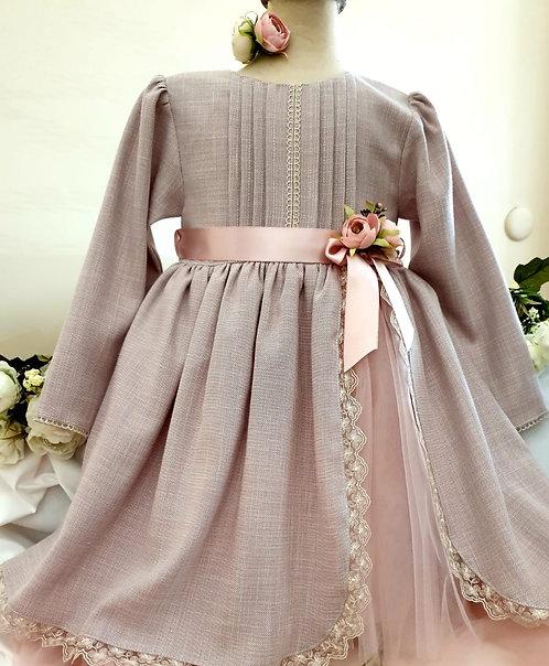 Yırtmaçlı Dantelli Uzun Kollu Vizon Kız Çocuk Abiye Elbise