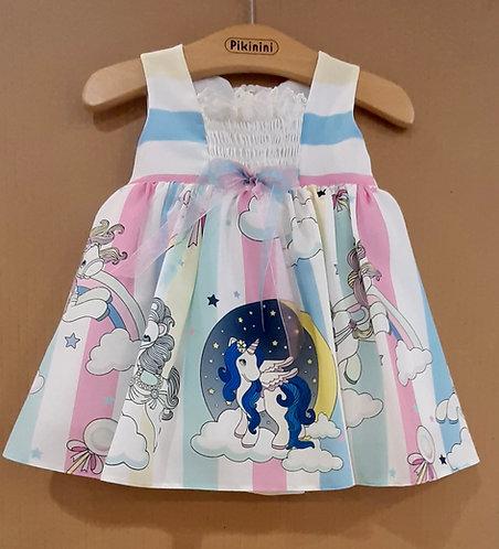 Pony Unicorn Desenli Pastel Renkli Kurdelalı Kız Bebek Abiye Elbise