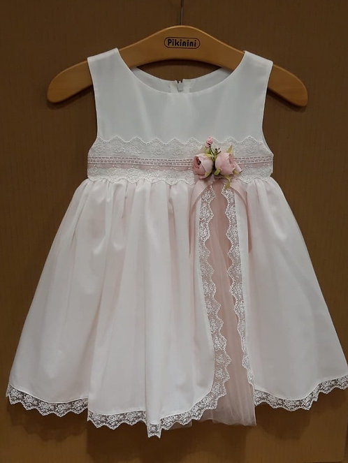 Dantel Detaylı Tüllü Kurdelalı Beyaz-Pembe Kız Çocuk Abiye Elbise