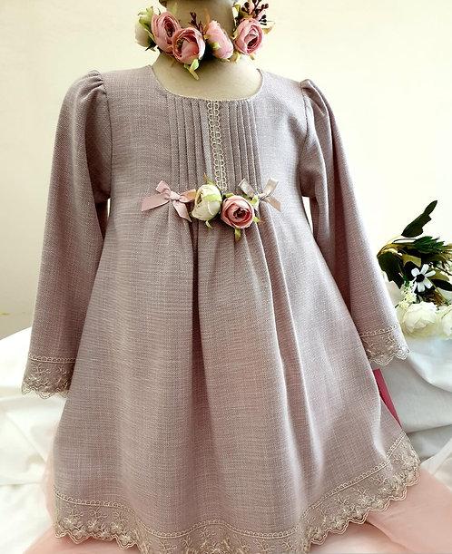 Dantelli Uzun Kollu Vizon Rengi Kız Çocuk Abiye Elbise