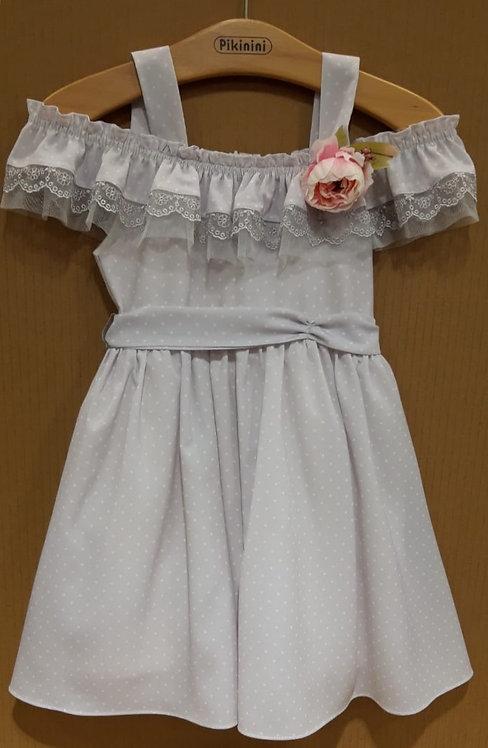 Puantiyeli Açık Omuzlu Dantel Detaylı Lila Çocuk Abiye Elbise