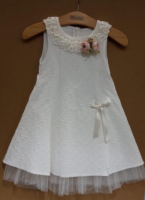 Fırfır Yakalı Desenli Kumaş Tül Detaylı Beyaz Çocuk Abiye Elbise